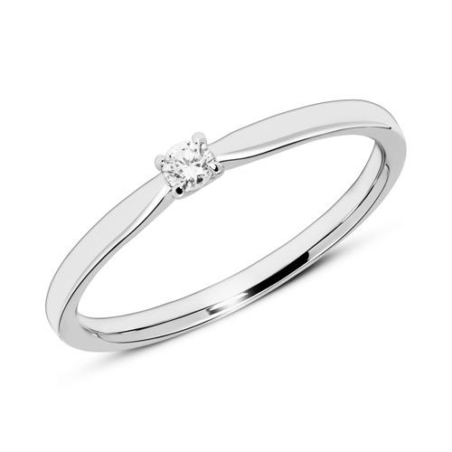 Gravur Verlobungsring aus 585er Weißgold mit Diamant