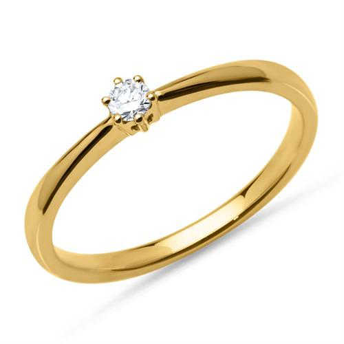 18K Goldring mit Diamant 0,10 ct.