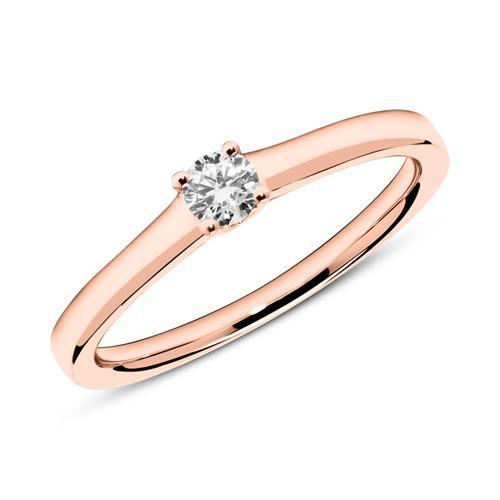 Verlobungsring aus 14K Roségold mit Diamant 0,15 ct.