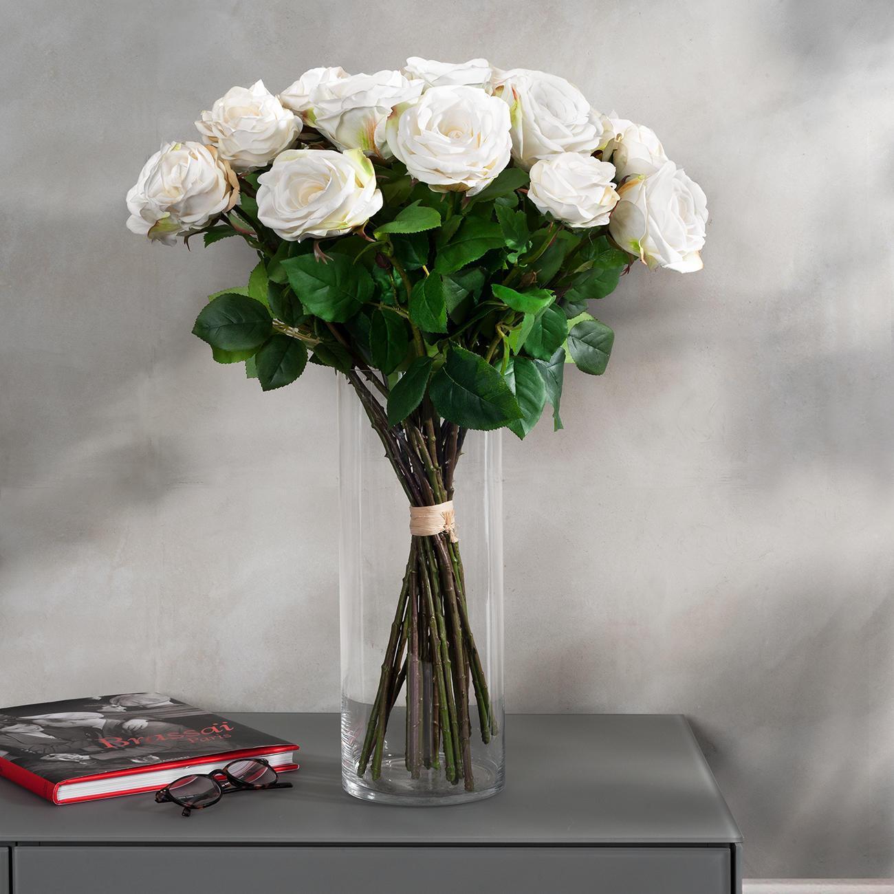 Rosenstrauß weiße Avalanche langstielige Rosen, naturgetreu, Kunstblume