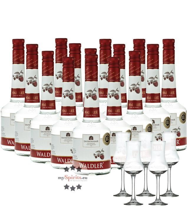 Unterthurner Waldler Original 15 Flaschen + 5 Schnapskelche (39 % vol., 10,5 Liter)