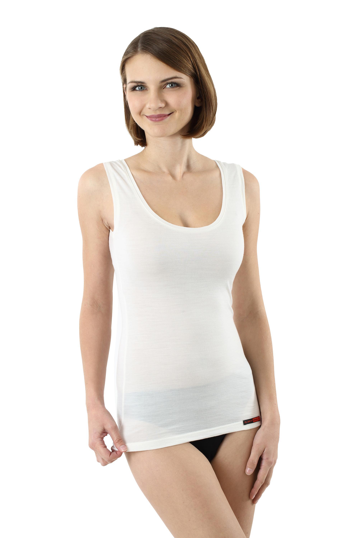 Damen Unterhemd Merino Wolle ohne Arm Woll-Weiß - 42-44/XL