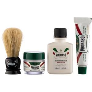 Proraso Herrenpflege Sensitive Travel Kit Pre Shave Cream Refresh 15 ml + Shave Cream Refresh 10 ml + After Shave Balm Sensitive 25 ml + Shaving Brush 1 Stk.