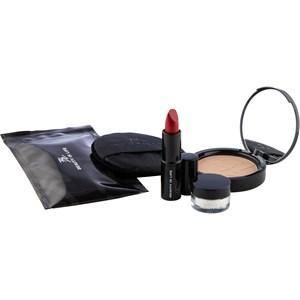 BEAUTY IS LIFE Make-up Lippen Geschenkset Kompaktpuder Nr. 02W-C Light Beige 10 g + Lippenstift Nr. 44C Kingdom 4 g + Diamond Sparkle Nr. 22W-C Luster 2 g + Puderquaste + Aloe Vera Tuch 1 Stk.
