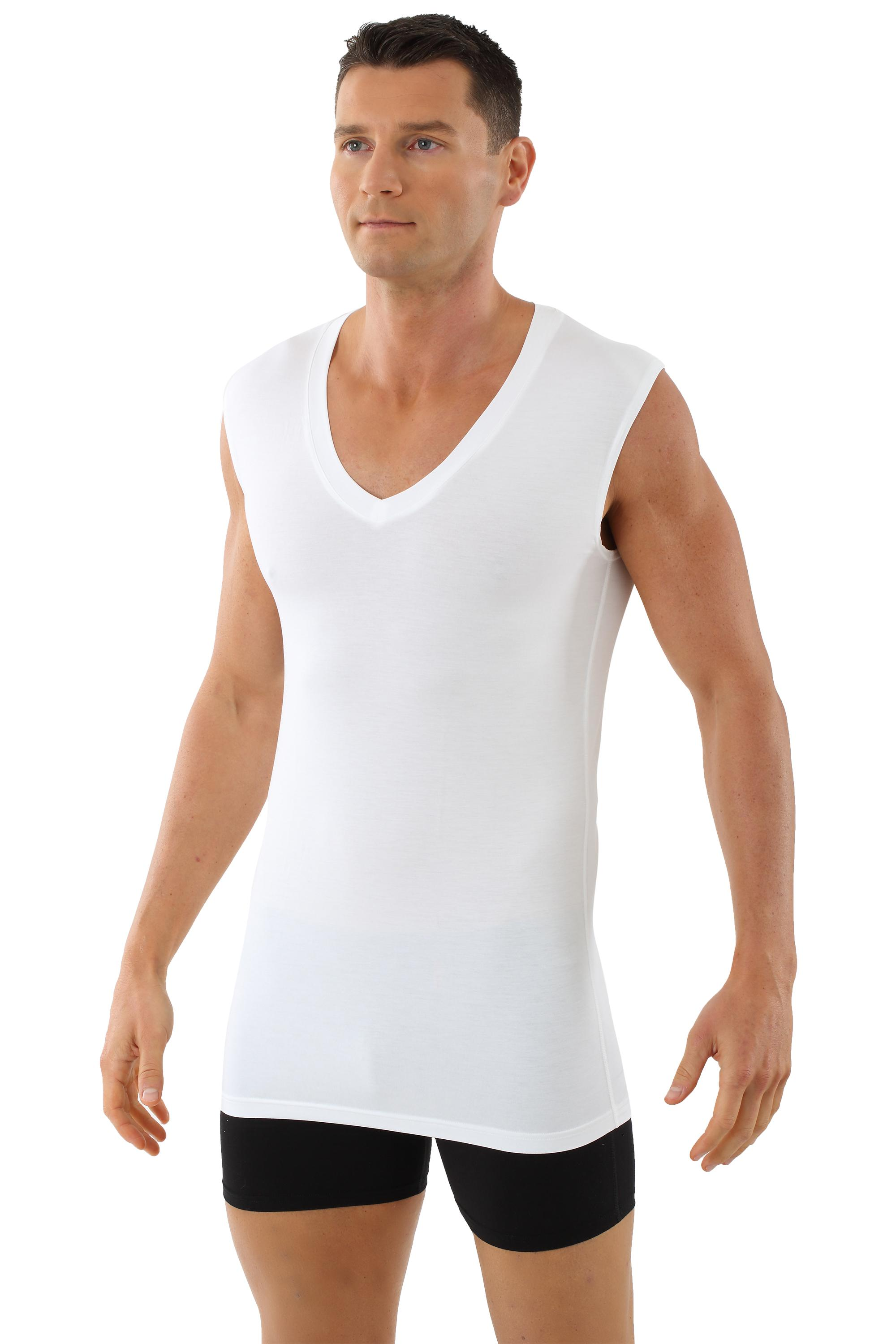 Atmungsaktives Unterhemd Deep-V-Neck ohne Arm light - 06/L