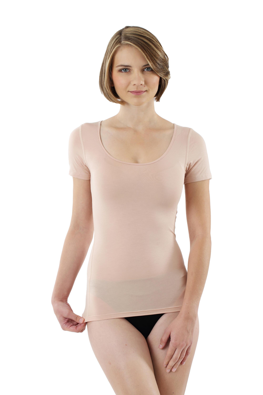 Damen Unterhemd unsichtbar Hautfarbe Kurzarm Micromodal - 36-38/S