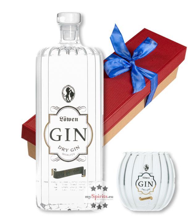 Löwen Geschenk-Set Löwen Gin mit Gin-Glas (40 % vol., 0,7 Liter)