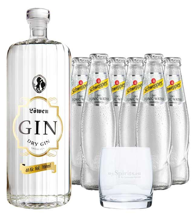 Löwen Dry Gin & 6 x Schweppes Dry Tonic Water & Glas (40 % Vol., 1,9 Liter)