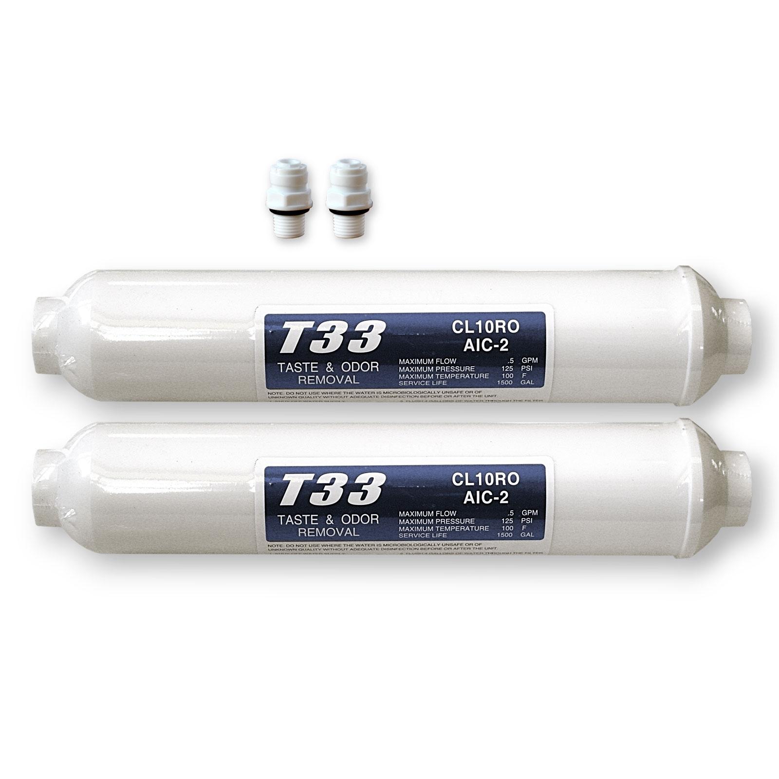 2x externer Wasserfilter für SBS Kühlschrank T33 Kühlschrankfilter