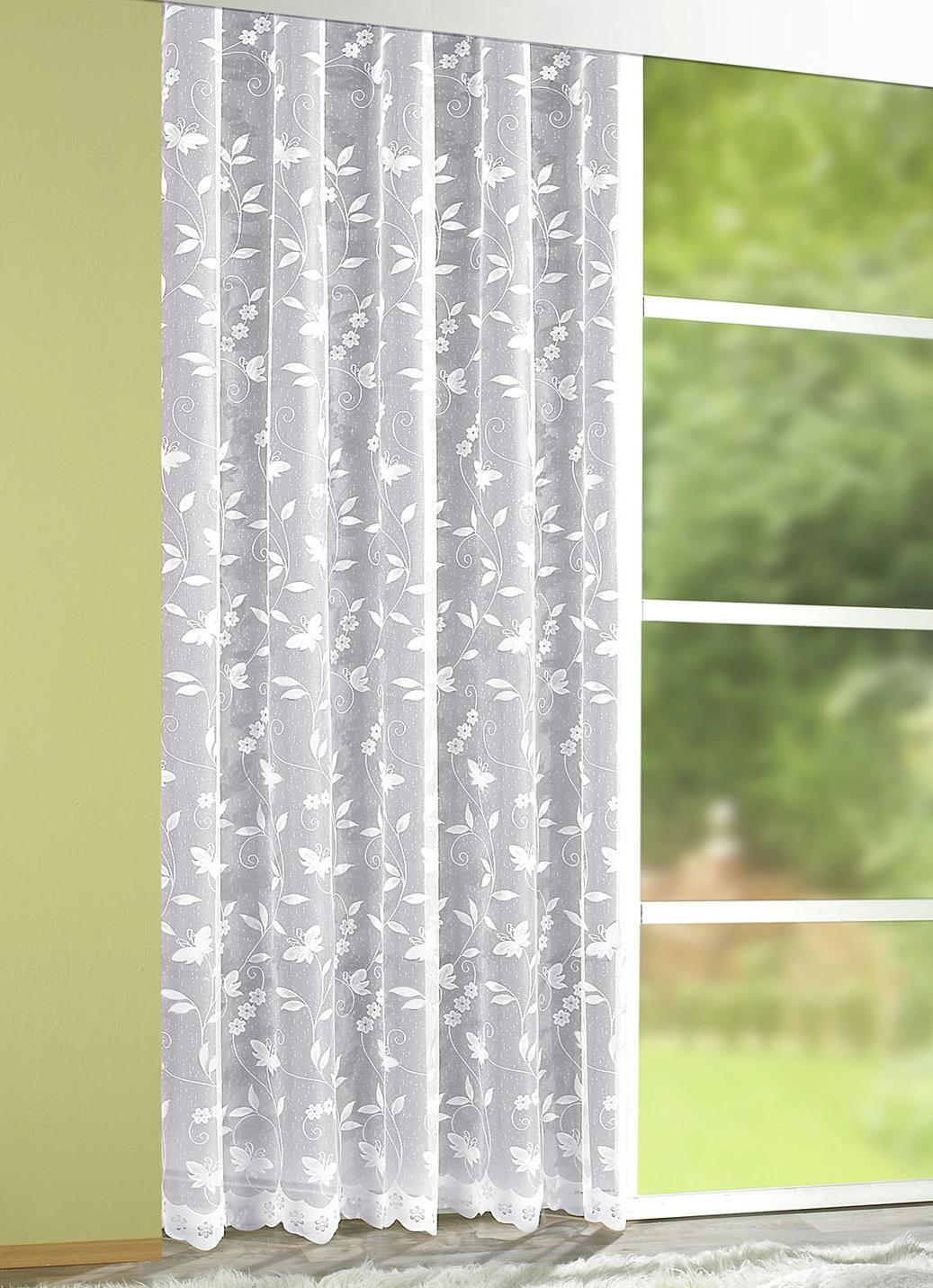 Store mit Blumengirlande, Größe 283 (Store, H240xB300 cm), Weiss