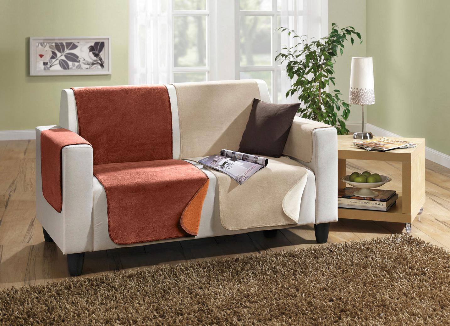 Wende-Sessel-,Couch- und Armlehnenschoner, Größe 865 (2 Armlehnenschoner, 50x 70 cm), Terra