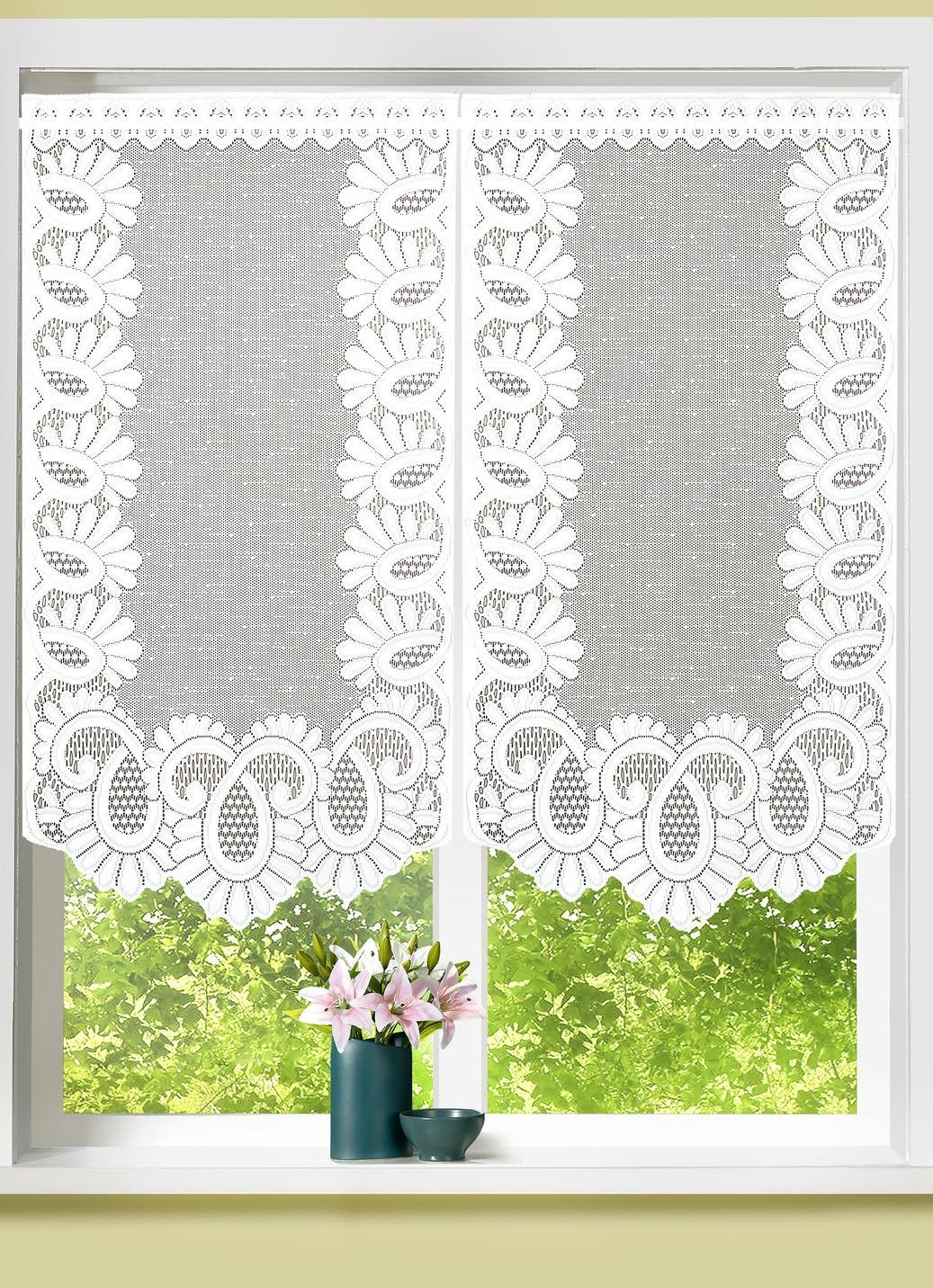 Fenster- oder Türbehang aus Jacquard, Größe 309 (Fensterbehang, 2er-Set H 80xB40 cm), Weiss