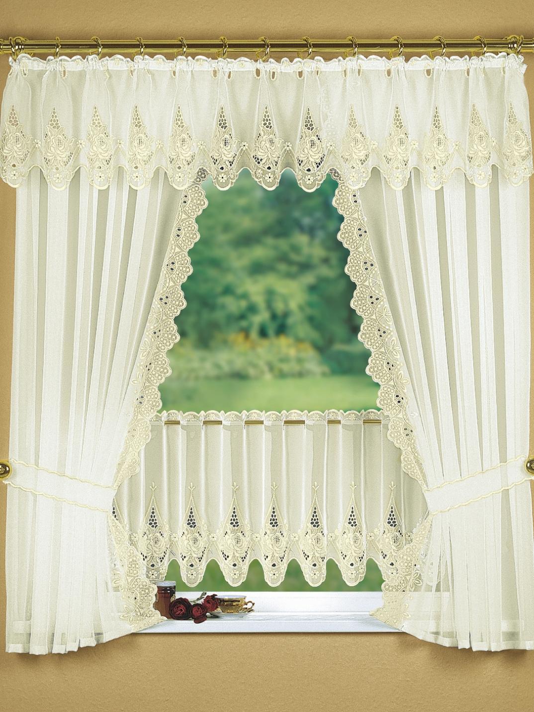Fensterdekoration in verschiedenen Farben, Größe 694 (Querbehang, H33xB150 cm), Creme