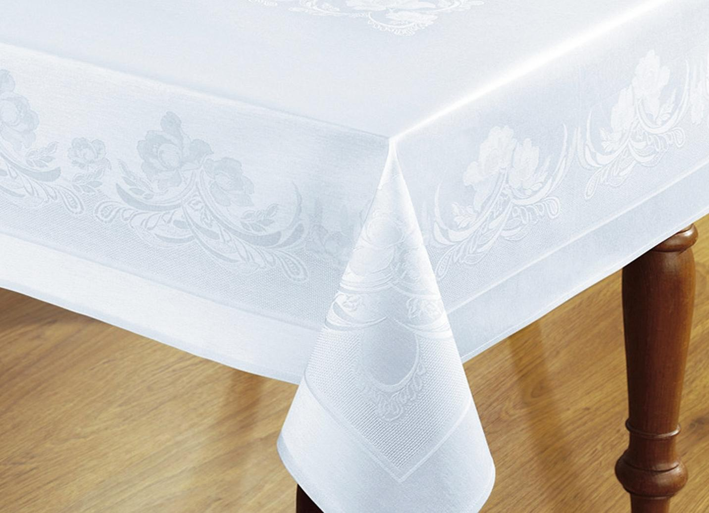 """CURT BAUER"""" Damast-Tischdekoration """"Ranken"""", Größe 302 (2 Servietten, 50/ 50 cm), Weiss"""