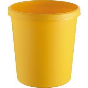 """helit """"the german"""" Papierkorb mit Rand, 18 Liter, Objekt-Papierkorb mit umlaufendem Griffrand, Farbe: gelb"""