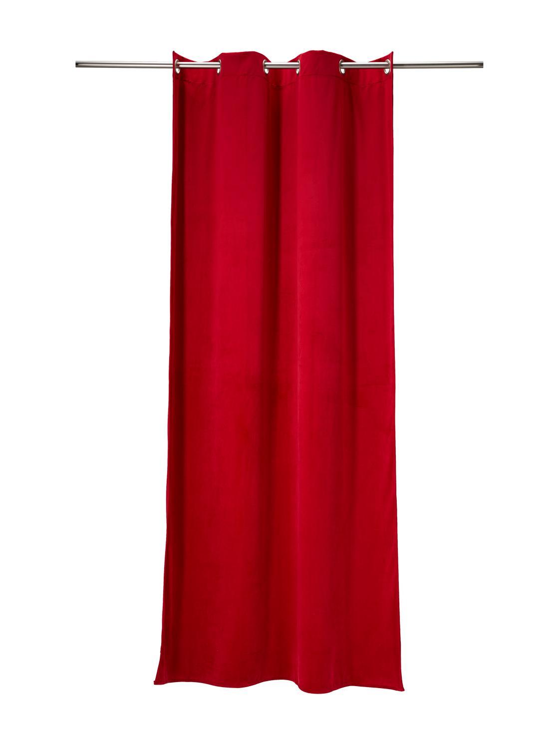 TOM TAILOR Unisex Vorhang in Samt-Optik, rot, Gr.135/245
