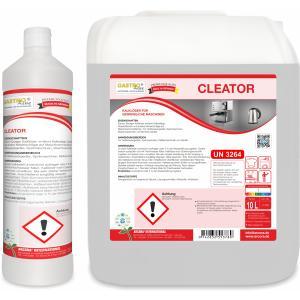 CLEATOR Kalklöser für gewerbliche Spülmaschinen, Saurer, flüssiger Entkalker entfernt Kalkbeläge und Wasserflecken, 1 Liter - Flasche