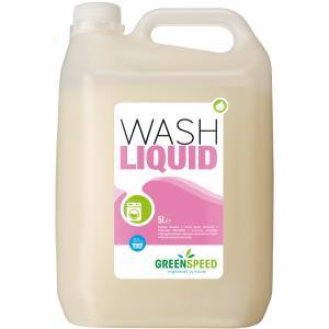 Greenspeed Wash Liquid Waschmittel, Ökologisches Flüssigwaschmittel zur schonenden Reinigung farbechter Buntwäsche, 5 l - Kanister
