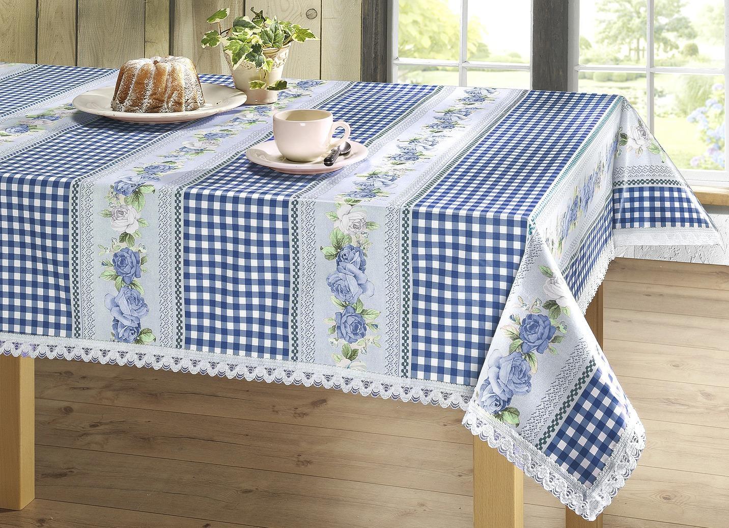 Wachstuch-Tischserie in Landhaus-Optik, Größe 110 (Tischdecke, 110/140 cm), Blau