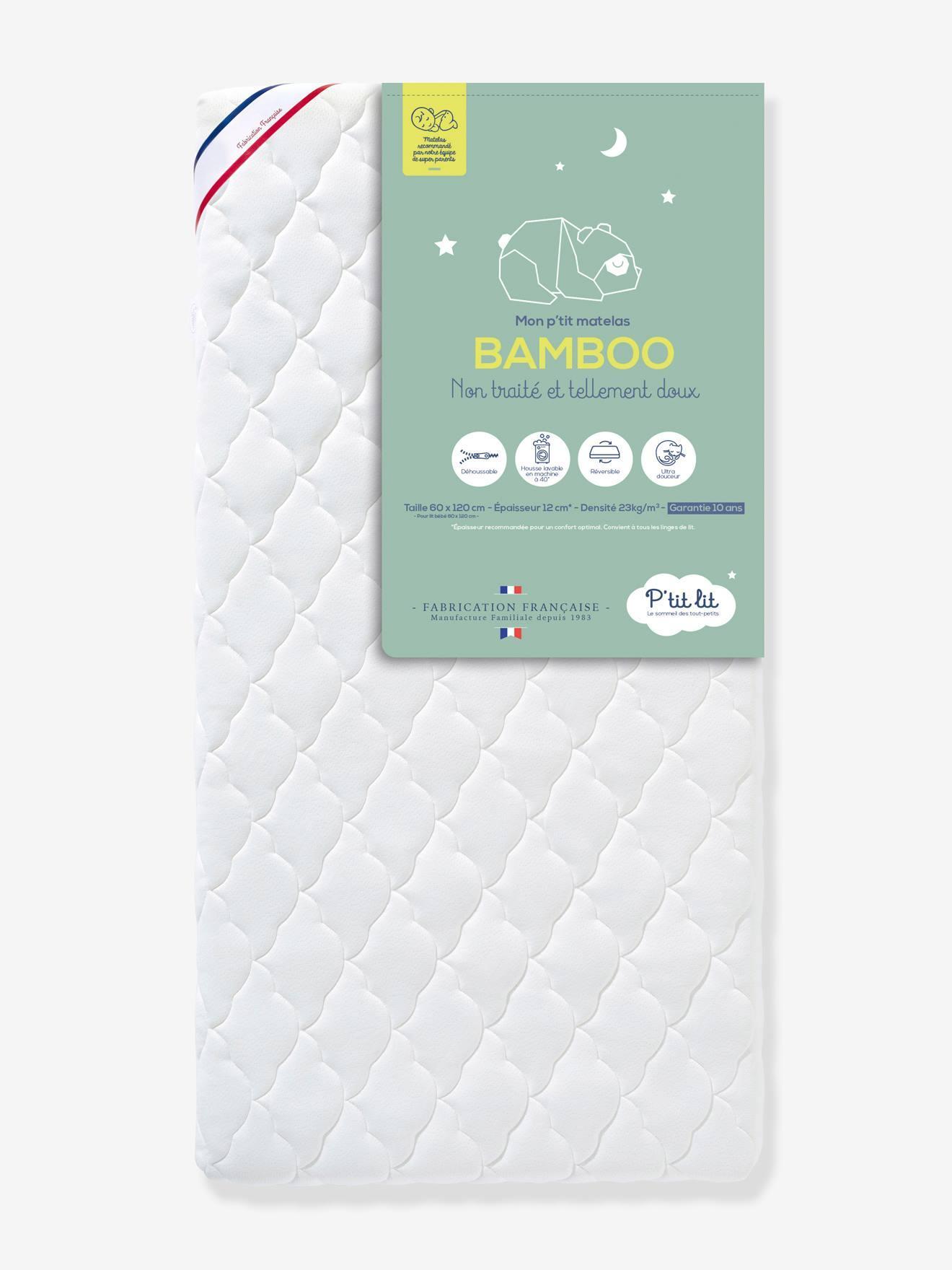 """Baby Matratze mit Viskose """"Bamboo"""" P'TIT LIT, 60 x 120 cm weiß Gr. 60x120"""