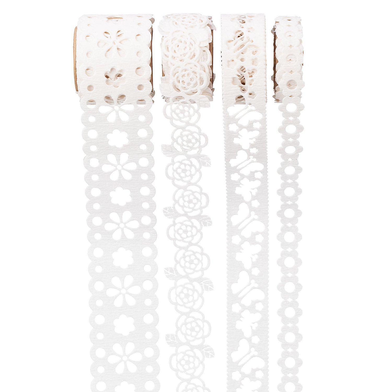 Folia Papierbordüren-Set, weiß, 8–23 mm, 4x 1 m