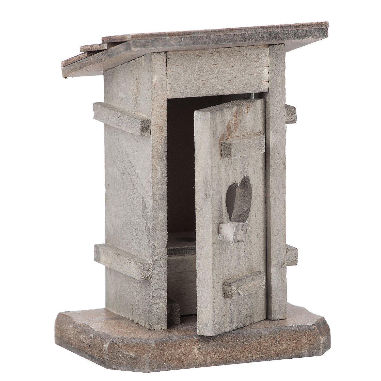 Toilettenhäuschen aus Holz, 7 x 4,8 x 9,5 cm