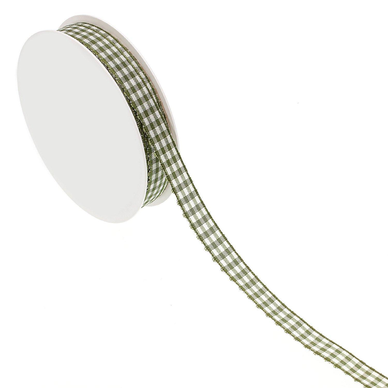 Stoff-Karoband, moosgrün, 10 mm, 10 m