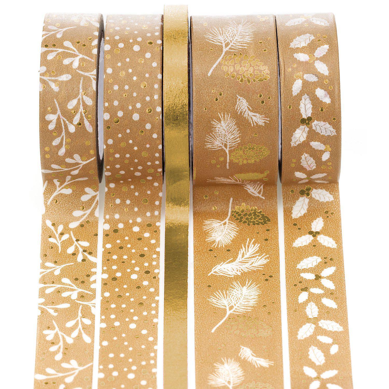 """Deko-Tape """"Weihnachten"""", gold, 6 - 18 mm, 25 m"""