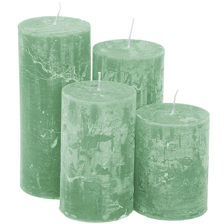 Rustikale Kerzen, mint, abgestuft, 4 Stück