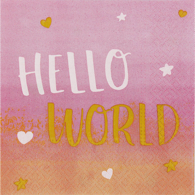 "Servietten ""Hello World"", rosa, 33 x 33 cm, 16 Stück"