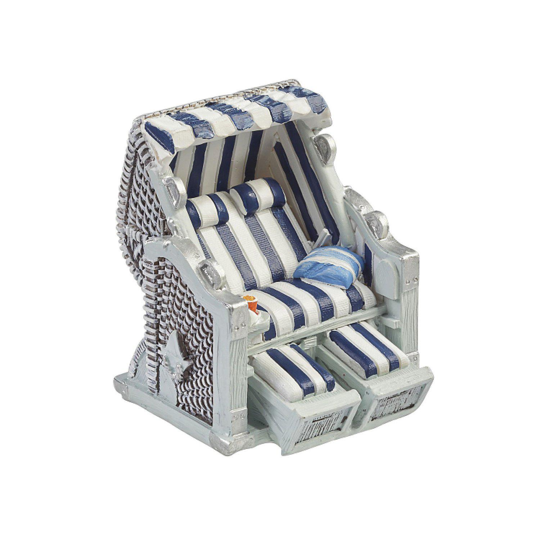 Mini-Strandkorb, 6,5 cm, blau-weiß