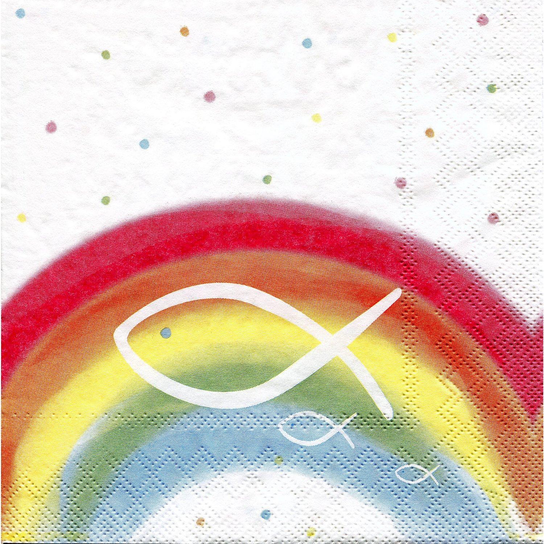 """Papierservietten """"Regenbogen/Weiß"""", 33 x 33 cm, 20 Stück"""