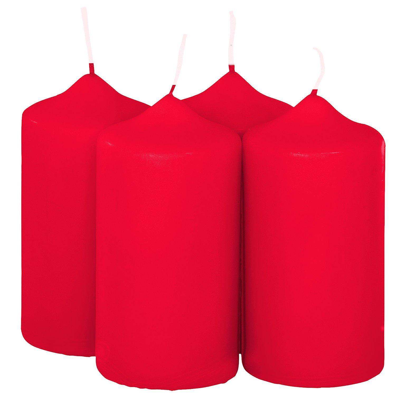 Stumpenkerzen, rot, 4 Stück
