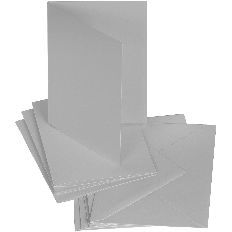 Doppelkartenset, grau, A6 / C6, je 50 Stück
