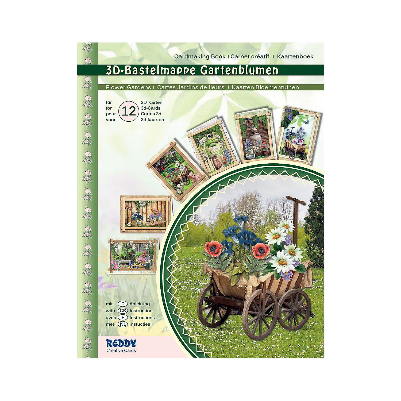 """3D-Bastelmappe """"Gartenblumen"""", für 12 Karten"""
