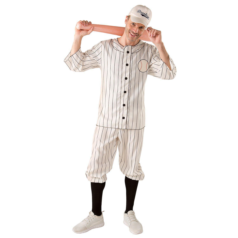 Baseball Kostüm für Herren, beige/schwarz
