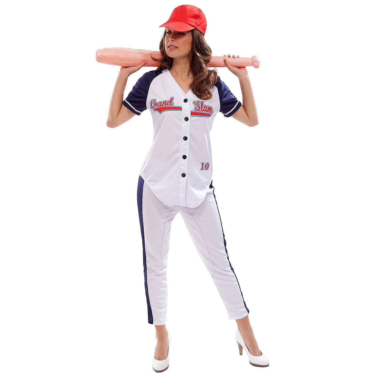 Baseball Kostüm für Damen, blau/weiß
