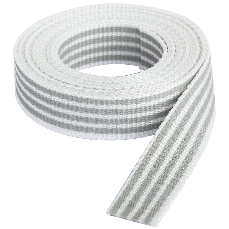 """buttinette Taschengurtband """"Streifen"""", weiß-hellgrau, Breite: 2,5 cm, Länge: 3 m"""
