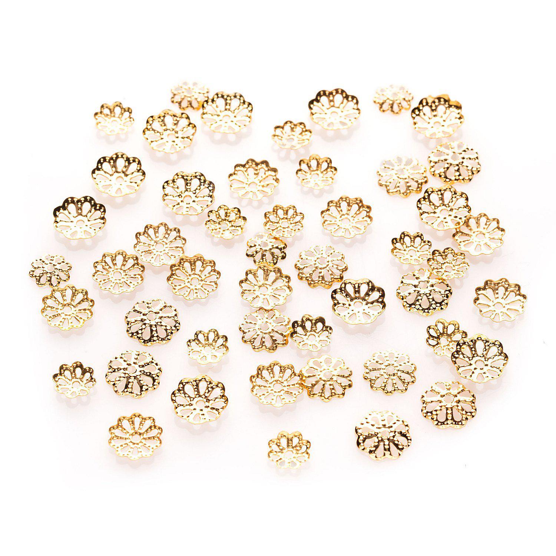 Perlkappen, gold, 6 - 10 mm Ø, 50 Stück