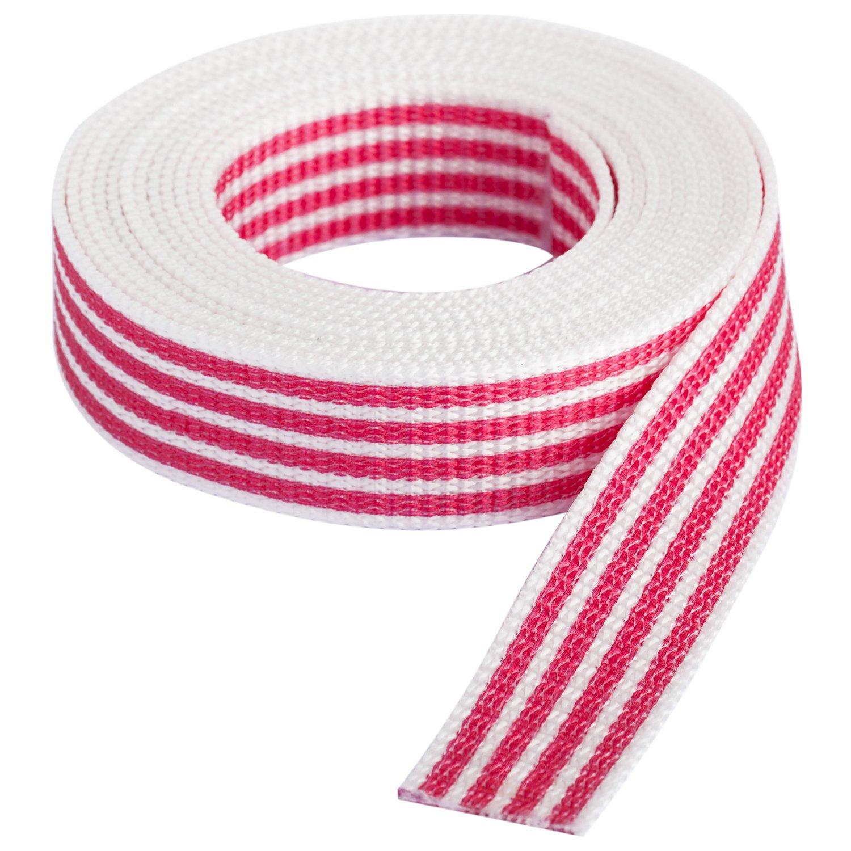 """buttinette Taschengurtband """"Streifen"""", weiß-pink, Breite: 2,5 cm, Länge: 3 m"""