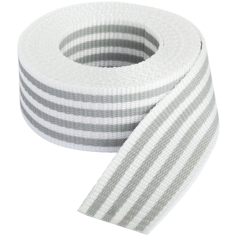 """buttinette Taschengurtband """"Streifen"""", weiß-hellgrau, Breite: 4 cm, Länge: 3 m"""