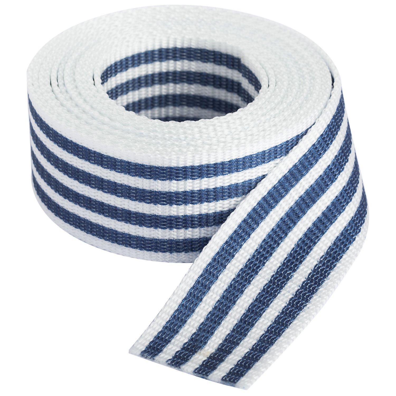 """buttinette Taschengurtband """"Streifen"""", weiß-marine, Breite: 4 cm, Länge: 3 m"""