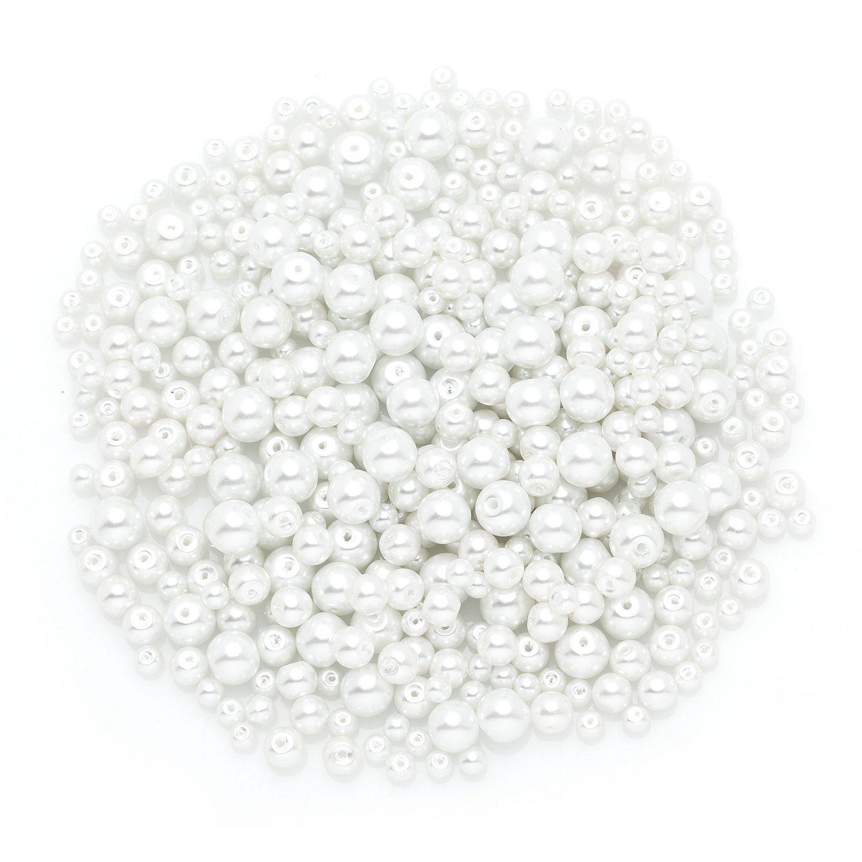 Glaswachsperlen, weiß, 4 - 8 mm Ø, 100 g