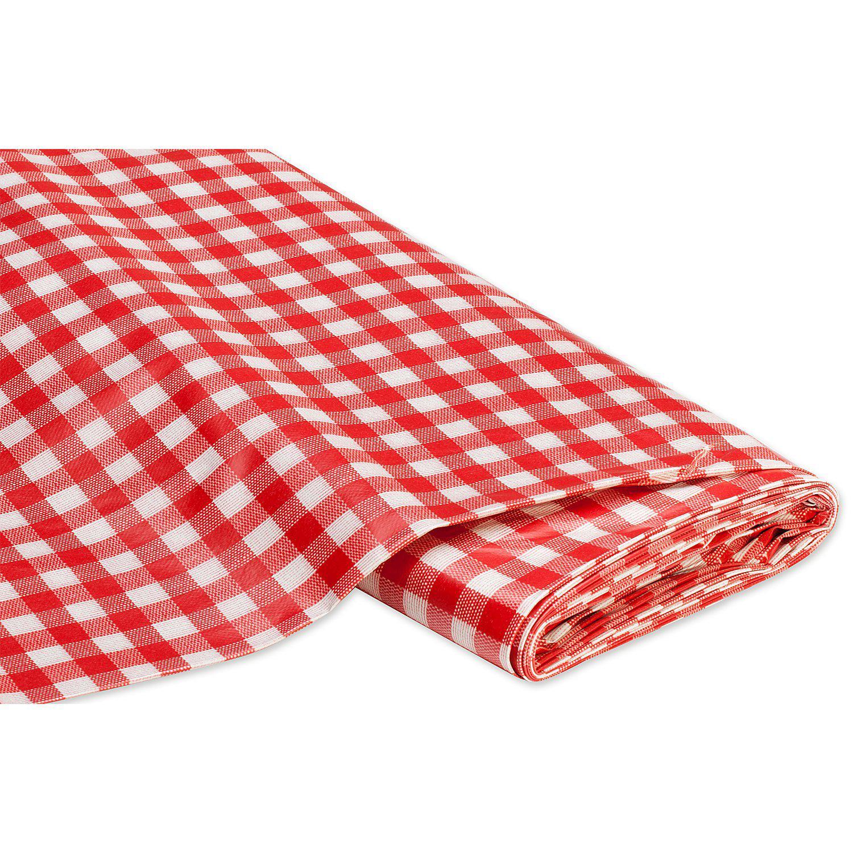 Abwaschbare Tischwäsche - Wachstuch Karo, rot/weiß