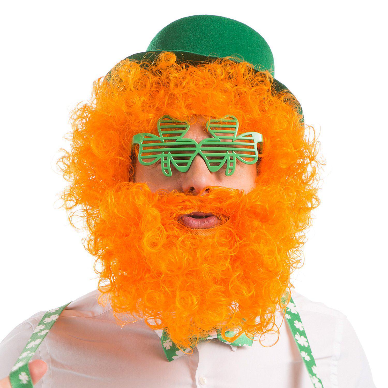 Lockenperücke mit Bart, orange