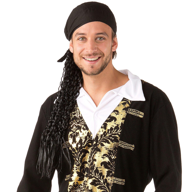 Piratentuch mit Perücke, schwarz