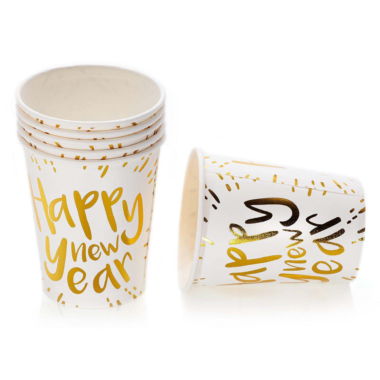 """Pappbecher """"Happy new Year"""", 250 ml, 8 Stück"""