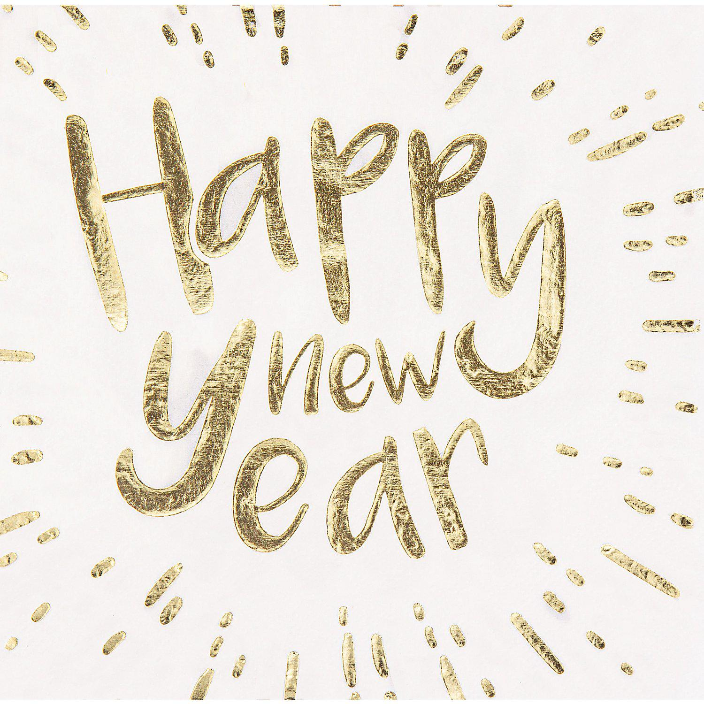 """Serviette """"Happy new Year"""", metallic, 33 x 33 cm, 12 Stück"""