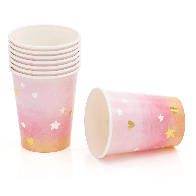 "Pappbecher ""Hello World"", rosa, 250 ml, 8 Stück"