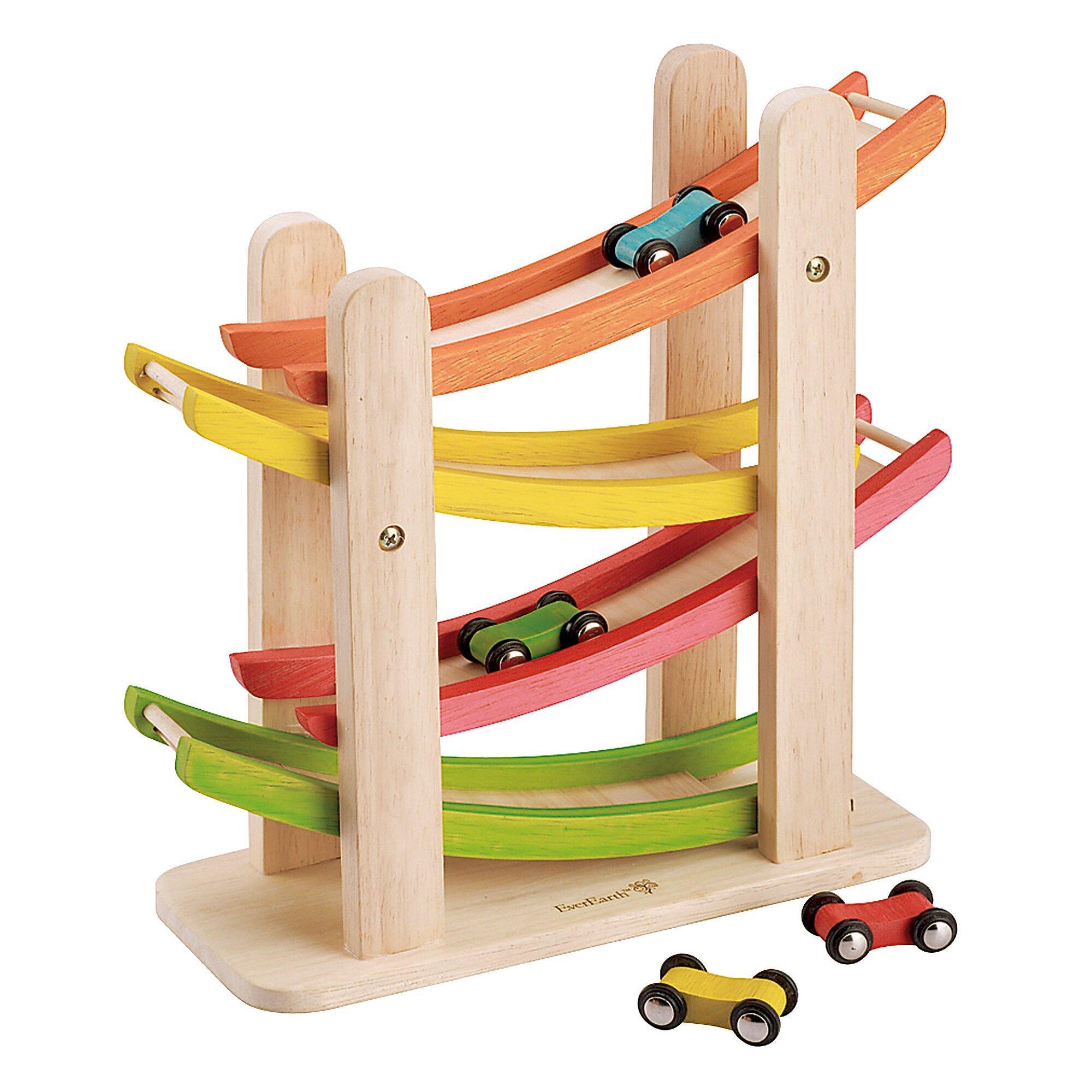 Kugelbahn Auto-Rennbahn aus Holz